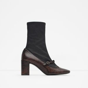 NEW ZARA MARY JANE SOCK ANKLE BOOTS